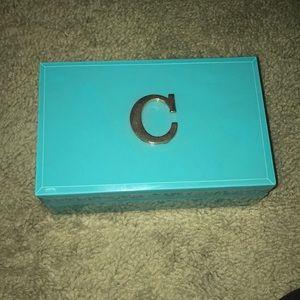 "Glass jewelry box with ""C"" initial"